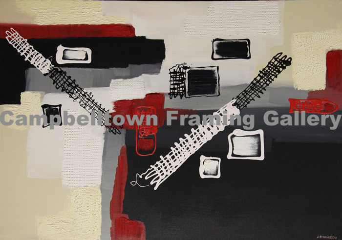 Original Arwork for Sale at Campbelltown Framing Gallery red white black