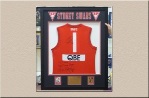 Swans Football Jersey in 3D Box at Campbelltown Framing Gallery
