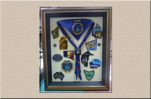 Scouting Memorabilia with scarf and badges at Campbelltown Framing
