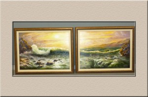 Twin frames of a seascape at Campbelltown Framing Gallery